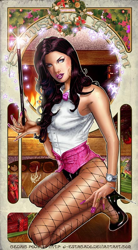 Christmas, Sexy, Wonder Woman, Zatanna, 52, artwork