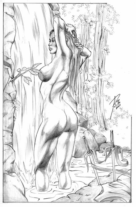 Elektra, Sexy, Sketch, Marvel, Bathing, Nude, BBW