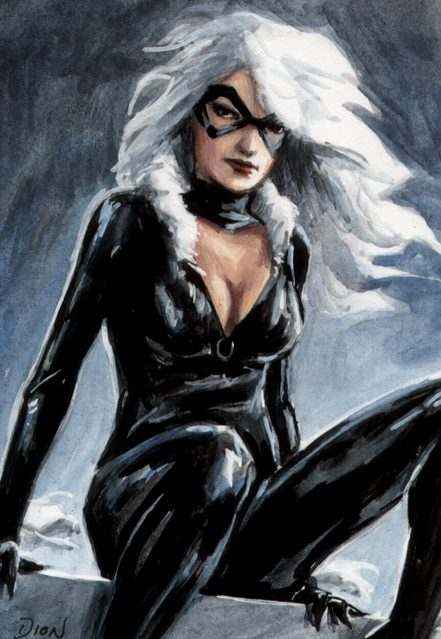 Black Cat ACEO eBay painting sexy Dion Hamill
