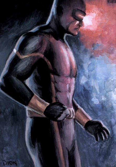 Cyclops, X-Men, painted, ACEO, Scott Summers, Jean Grey, original artwork