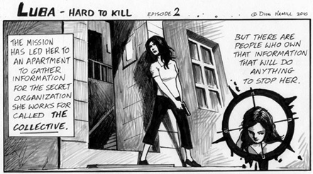luba, james bond, comic strip, hard to kill, dion hamill