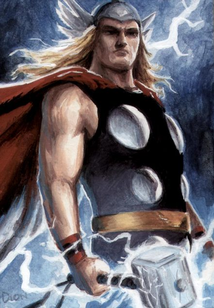 Thor, ACEO, paint, Dion Hamill, artwork, eBay