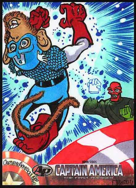 Captain America, Movie, Sketch Card, Monkey, Cosmic Cube, Thor, Hemsworth, Chris Evans, 2011 Summer, artist proof, first avenger