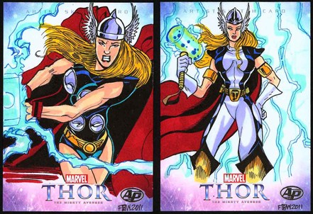 Thor, March 2011, April 2011, artwork, sketch, card set, Frankie B Washington, Cell cards, Autograph Cards, Natalie Portman, Chris Hemsworth, Anthony Hopkins