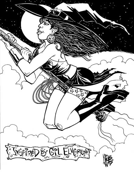 Wonder Woman Witch Black and White