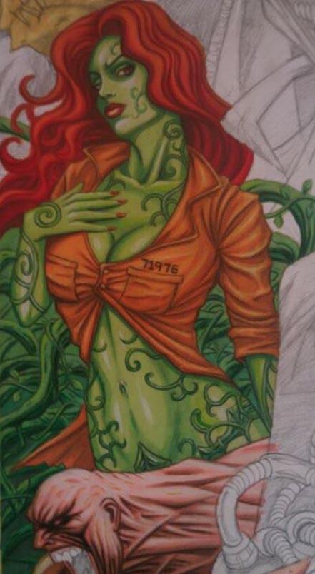 Batman, Arkham Asylum, Joker, crazy, Poison Ivy, Bane, Harley Quinn, Montage, painting, artwork