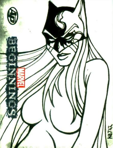 Marvel Beginnings, Frank Kadar, Sketch card, Artsist Proof, Black Cat, Ms Hand, Squirrel Girl, Hellcat, sexy