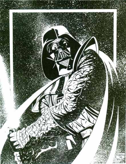 Darth Vader, Star Wars, Splash Page, original artwork, Frank Kadar