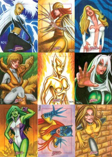 Marvel Dangerous Divas, Trading Cards, Frank Kadar, Sketch Cards, sexy, artwork