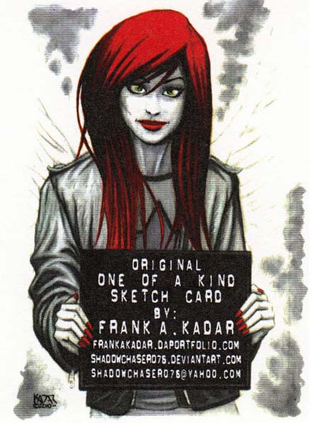 Sketch Card, Red Skull, Captain America, Dangerous Divas, Frank Kadar, Red Skull, commission, rare, collectible