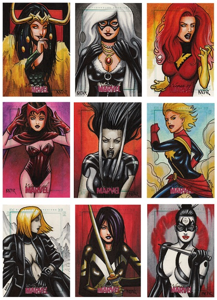 2013, Women of Marvel, Series 2, Frank Kadar, Colour, Color Sketch cards, sexy