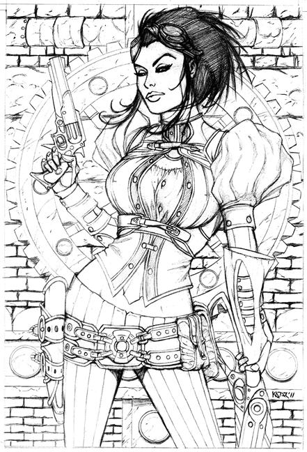 Lady Mechanika, Duo-Shade, sexy, inked, artwork, frank kadar