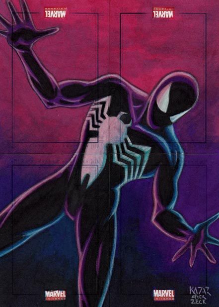 Iron Spider-Man, Black Spider-Man, Marvel Universe, original artwork, sketch card