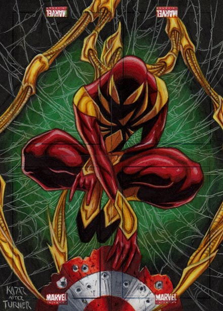 Iron Spider-Man, Black Spider-Man, Marvel Universe, original artwork, sketch card, 2011, card set