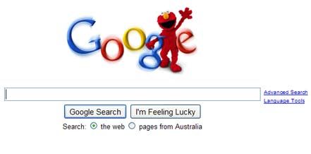 Elmo Google homepage