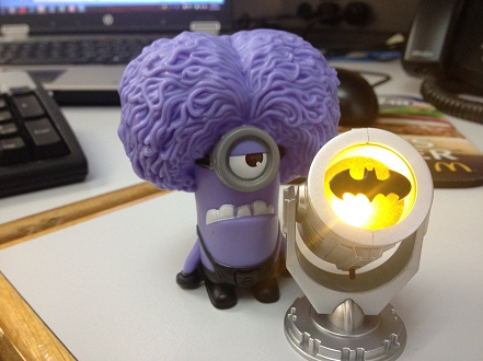 Batsignal, Light, Purple Minion, Dave, McDonald's, Stuart, Despicable Me, Despicable Me 2