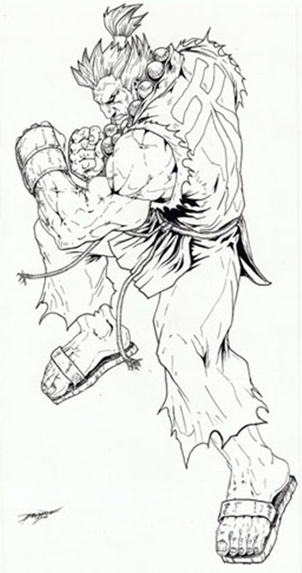Street Fight, II, III, IV, Akuma, artwork, sketch, Ryu