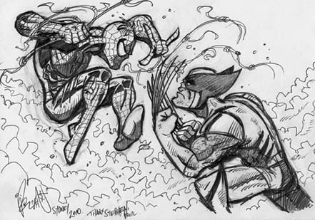 Spider-Man, Wolverine, Fight, VS, sketch