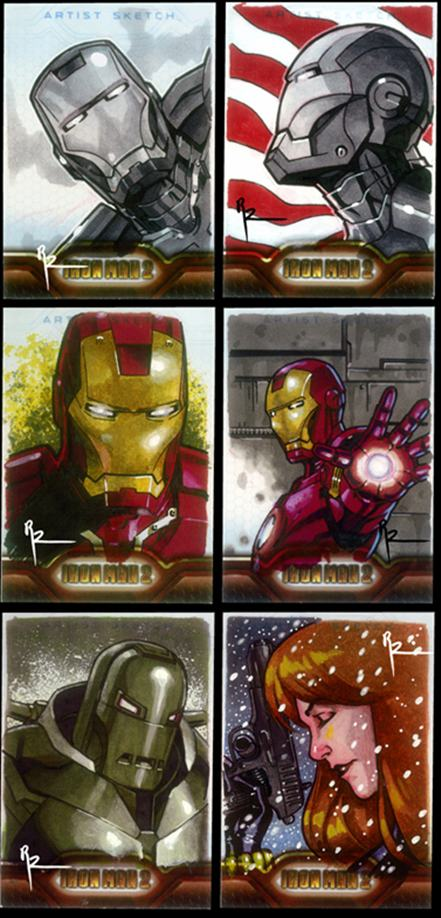 iron man, iron man 2, tony stark, sketch cards, black widow, art cards