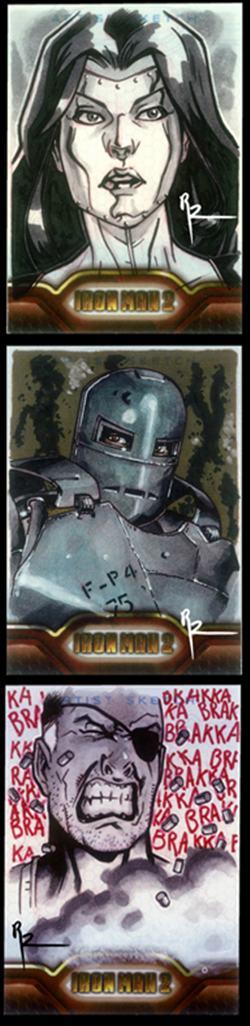 iron man, iron man 2, tony stark, sketch cards, black widow, art cards
