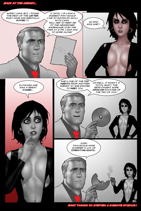 Spying with Lana, spy, artwork, sexy, Sean Harrington, Mysterious Brunette