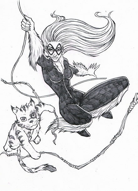 Avengers, Black Widow, Spider-Man, sexy, Tabby, P.R Dedelis, artwork, roughs, fish market, Manly Daily, Daily Telegraph, Sydney, newspaper, graphic novel, Marvel, Felicia Hardy, Black Cat, Amazing Spider-Man