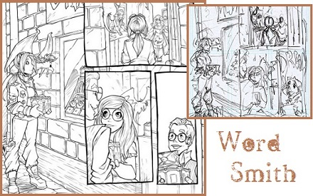 Tabby, P.R.Dedelis, Graphic novel, project start, wordsmith, Celia, Victoria, Sparky, steampunk, match lab 2017, Word Smith, Font, sketches